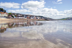 Lyme Regis Seafront Reflections - May 2015 Stock Photo