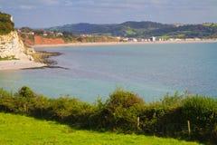Lyme Zatoka i Seaton plażowy Devon Obraz Royalty Free