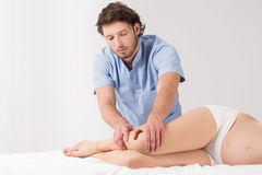 Lymphatic drainage massage. Therapy in the pregnancy Royalty Free Stock Image