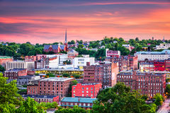 Lynchburg, Virginia Town Skyline. Lynchburg, Virginia, USA downtown city skyline at dusk royalty free stock photo