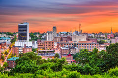 Lynchburg, Virginia, USA. Downtown city skyline at dusk royalty free stock photography