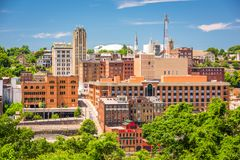 Lynchburg, Virginia, USA downtown skyline. In the afternoon royalty free stock photos