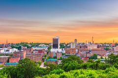 Lynchburg, Virginia, USA. Downtown city skyline at dusk royalty free stock image