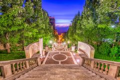 Lynchburg, Virginia, USA Monument Terrace. Lynchburg, Virginia, USA at Monument Terrace steps at night Royalty Free Stock Photo