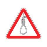 Lynchen-Aufmerksamkeit Schleifenscharfrichter auf rotem Dreieck Weitwinkelansicht und blaue Tönung stock abbildung