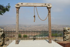 Lynching. Rope hanging from poles set the stage  for a lynching Royalty Free Stock Photos