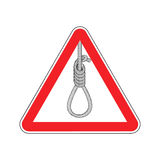 Lynching Attention. Loop executioner on red triangle. Road sign Royalty Free Stock Image