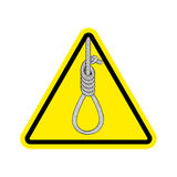 Lynching Attention. Loop executioner on yellow triangle. Road si. Gn of danger hanging Royalty Free Stock Photos