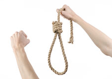 Lynching and suicide theme: man's hand holding a loop of rope for hanging on white isolated background. Studio Royalty Free Stock Photo