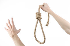 Lynching and suicide theme: man's hand holding a loop of rope for hanging on white isolated background Royalty Free Stock Images