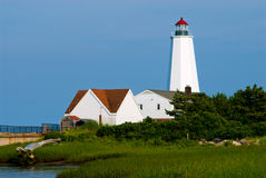 Lynde Point Lighthouse in Old Saybrook, Connecticut. Lynde Point lighthouse was rebuilt, creating a higher tower, helping mariners to see the lighthouse more royalty free stock images