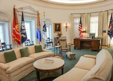 AUSTIN TEXAS - SEPTEMBER 17, 2017-The Oval Office at the Lyndon B Johnson LBJ Library and Museum Stock Image