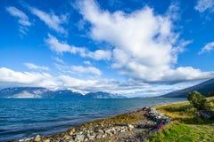 Lyngen海湾在挪威 免版税库存照片
