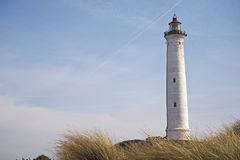 Lyngvig lighthouse in the coastal landscape of Denmark Royalty Free Stock Image