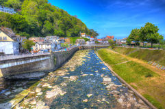 Lynmouth Devon England UK in colourful hdr Royalty Free Stock Photo