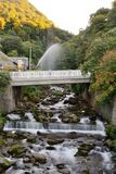 Lynmouth in Devon. Long exposure of the river in Lynmouth in Devon stock photo
