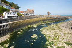 Lynmouth Devon UK with beautiful spring sunshine. LYNMOUTH, DEVON, ENGLAND, UK-MAY 10TH 2017: Beautiful spring sunshine and clear blue skies were enjoyed by stock photos