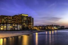 Lynnhaven海滩在晚上 免版税库存图片