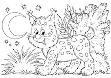 Lynx. Black-and-white illustration (coloring page): walking lynx Stock Images
