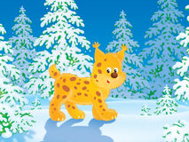 Lynx. Clip-art illustration of a lynx walking the forest path Stock Images