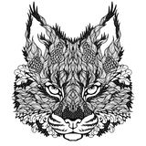 LYNX / bobcat head tattoo. psychedelic Stock Photo