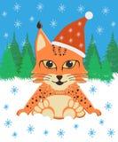 Lynx de bébé se reposant dans la neige dans un chapeau de Noël sur un fond de forêt Photo libre de droits