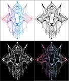Lynx design of tattoos and t-shirts 4 color royalty free illustration