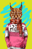 Lynx in knitted sweater. Vector illustration for greeting card, poster, or print on clothes. Fashion Style drawing. Hipster Royalty Free Stock Photo