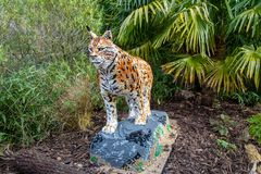 A Lynx statue made from Lego bricks. CHESTER, UNITED KINGDOM - MARCH 27TH 2019: A Lynx statue made from Lego bricks royalty free stock photography