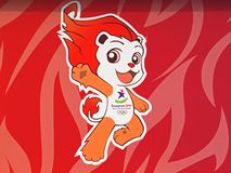 LYO - Singapore Youth Olympics Mascot. YOG's mascot: Lyo-a Fire-Themed male lion. Ideal for YOG's publications/ news/reports Royalty Free Stock Photo