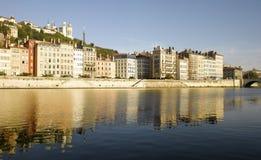 Lyon: Банк реки Saone Стоковая Фотография