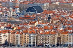 lyon воздушный взгляд города Стоковая Фотография