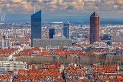 lyon воздушный взгляд города Стоковое Изображение