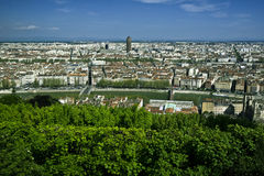 Lyon aerial view. Panoramic aerial view of the city of Lyon, France Royalty Free Stock Image