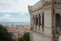 Lyon Aerial View Fourviere Basilica Stock Photos