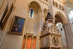 Lyon astronomical clock in the Cathedral. LYON, FRANCE, March 11, 2018 : Lyon astronomical clock. Built in 1379, the 9 meter tall clock sits in the cathedral of Stock Images