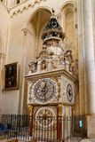 The Lyon astronomical clock. LYON, FRANCE, March 11, 2018 : Lyon astronomical clock. Built in 1379, the 9 meter tall clock sits in the cathedral of Lyon and Stock Images