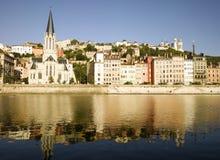 Lyon: Batería de río de Saone Fotografía de archivo