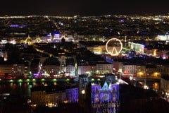 Lyon bij nacht Stock Afbeelding