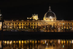 Lyon bij nacht Stock Foto