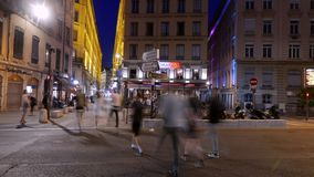 Lyon blue hour, bistrot and style of life, France stock video footage