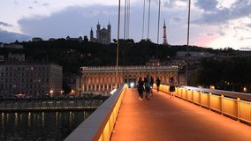 Lyon blue hour in front of Fourviere, France stock footage