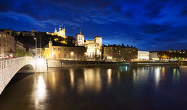 Lyon blue hour Stock Photography