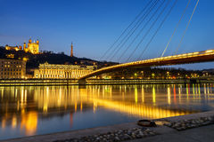 Lyon blue hour Royalty Free Stock Image