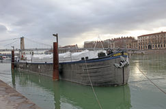 Lyon, boats on the river Rhone Royalty Free Stock Photos