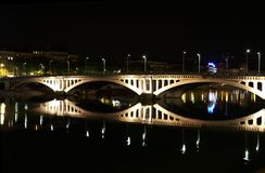 Lyon-Brücke nachts Stockbild
