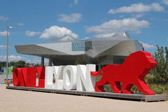 Lyon branding words and Musee des Confluences Royalty Free Stock Photography