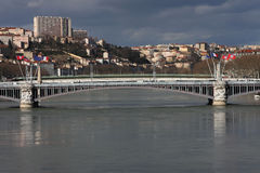 lyon bridżowa rzeka Rhone Fotografia Stock