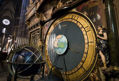 Strasbourg cathedral clock. The astronomical clock inside Strasbourg Notre Dame cathedral Royalty Free Stock Image