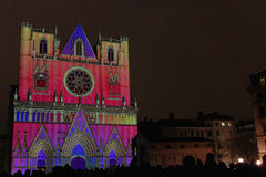 Lyon Cathedral during Festival of Lights Royalty Free Stock Photography